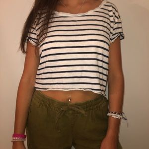 Missoni Other - White and blue striped shirt & olive green shorts